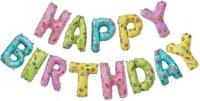 """Набор шаров-букв (14''/36 см) Мини-Надпись """"Happy Birthday"""", Веселые картинки, 1 шт. в упак."""