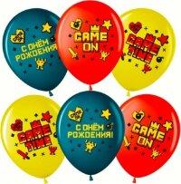 Воздушный шар (12''/30 см) Game Time, С Днем Рождения!, Ассорти, пастель, 2 ст, 25 шт.