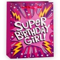 Пакет подарочный, Супер День Рождения (для девочки), Розовый, с блестками, 23*18*10 см, 1 шт.