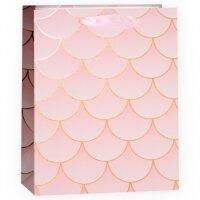 Пакет подарочный, Хвост Русалочки, Нежно-розовый, Металлик, 32*26*12 см, 1 шт.