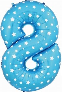 Воздушный шар (40''/102 см) Цифра, 8, Синий, 1 шт.