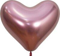 Сердце (14''/36 см) Reflex, Зеркальный блеск, Розовый (909), хром, 50 шт.