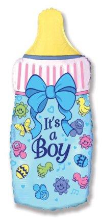 Шар (14''/36 см) Мини-фигура, Бутылочка для мальчика, Голубой, 5 шт.