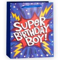 Пакет подарочный, Супер День Рождения (для мальчика), Синий, с блестками, 23*18*10 см, 1 шт.