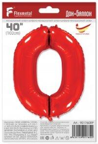 Шар (40''/102 см) Цифра, 0, Красный, 1 шт. в упак.