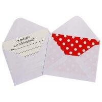 Открытка пригласительная, с конвертом, Белые точки, Красный, 12 шт.