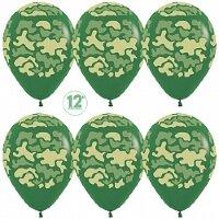 Шар (12''/30 см) Камуфляж, Темно-зеленый (032), пастель, 5 ст, 12 шт.
