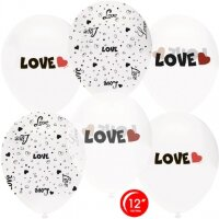Шар (12''/30 см) Любовь, Белый (801)/Прозрачный (701), кристалл, 5 ст, 50 шт.