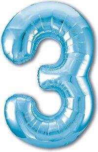 Шар (40''/102 см) Цифра, 3 Slim, Голубой, 1 шт. в упак.