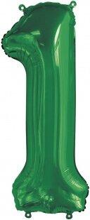 Шар (34''/86 см) Цифра, 1, Slim, Зеленый, 1 шт. в упак.