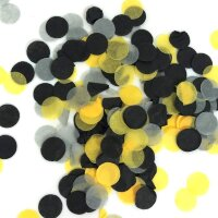 Конфетти тишью, Круги, Желтый / Серый / Черный, 1 см, 7 гр