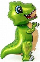 Шар (30''/76 см) Ходячая Фигура, Маленький динозавр, Зеленый, 1 шт. в упак.
