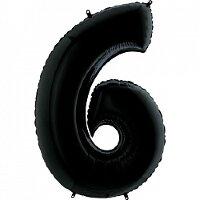 Шар (40''/102 см) Цифра, 6, Черный, 1 шт.