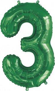 Шар (34''/86 см) Цифра, 3, Slim, Зеленый, 1 шт. в упак.