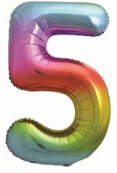 Шар (34''/86 см) Цифра, 5, Яркая радуга, Градиент, 1 шт. в упак.