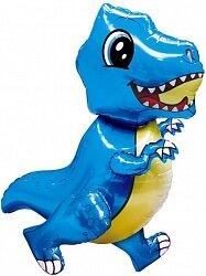 Шар (30''/76 см) Ходячая Фигура, Маленький динозавр, Синий, 1 шт. в упак.