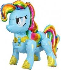 Шар (29''/74 см) Ходячая Фигура, Радужный пони, Голубой, 1 шт. в упак.