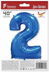 Шар (40''/102 см) Цифра, 2, Синий, 1 шт. в упак.