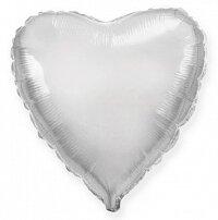 Шар (9''/23 см) Мини-сердце, Серебро, 5 шт.