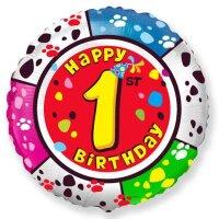 Шар (18''/46 см) Круг, 1 Happy Birthday, 1 шт.