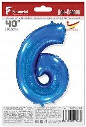 Шар (40''/102 см) Цифра, 6, Синий, 1 шт. в упак.