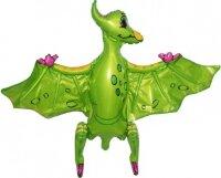 Шар (32''/81 см) Ходячая Фигура, Динозавр Птеродактиль, Зеленый, 1 шт. в упак.