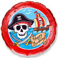 Шар (18''/46 см) Круг, С Днем Рождения (пират) , Красный, 1 шт.