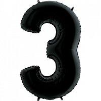 Шар (40''/102 см) Цифра, 3, Черный, 1 шт.