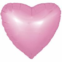 Шар (18''/46 см) Сердце, Розовый, Сатин, 1 шт.