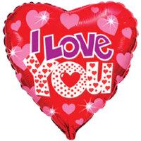 Шар (18''/46 см) Сердце, Я люблю тебя (яркие сердечки), Красный, 1 шт.