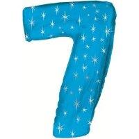 Шар (42''/107 см) Цифра, 7 Искры, Синий, 1 шт. в упак.