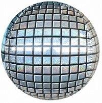 Шар (24''/61 см) Сфера 3D, Диско, Серебро, Голография, 1 шт.