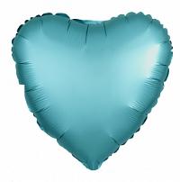 Шар (19''/48 см) Сердце, Бискайский зеленый, Сатин, 1 шт.