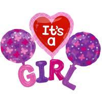 "Шар (72''/183 см) Фигура, Набор ""Girl"", Розовый, 1 шт."