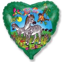 Шар (18''/46 см) Сердце, С Днем рождения (зебры), Зеленый, 1 шт.