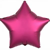 Шар (21''/53 см) Звезда, Гранатовый, Сатин, 1 шт.
