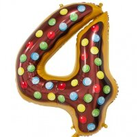 Шар (34''/86 см) Цифра, 4 Пончик, 1 шт. в упак.