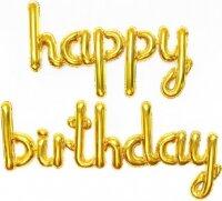 """Набор шаров (17''/43 см) Мини-Надпись """"Happy Birthday"""", Золото, 1 шт. в упак."""