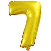 Шар с клапаном (16''/41 см) Цифра, 7, Золото, 5 шт.