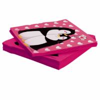 Салфетки, Влюбленные пингвины, Розовый, 33*33 см, 20 шт.