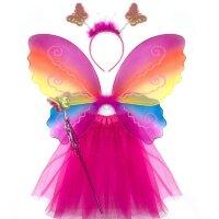 Набор (ободок, крылья, юбочка, волшебная палочка), Фея Бабочка, Радужный, с блестками, 1 шт.