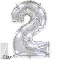 Шар (32''/81 см) Цифра, 2, Серебро, 1 шт. в упак.