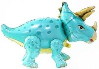 Шар (36''/91 см) Ходячая Фигура, Динозавр Трицератопс, Бирюзовый, 1 шт. в упак.