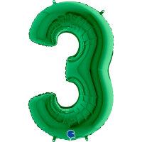 Шар (40''/102 см) Цифра, 3, Зеленый, 1 шт.