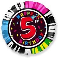 Шар (18''/46 см) Круг, 5 Цифра, Happy Birthday, 1 шт.