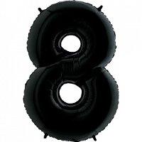 Шар (40''/102 см) Цифра, 8, Черный, 1 шт.