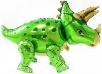Шар (36''/91 см) Ходячая Фигура, Динозавр Трицератопс, Зеленый, 1 шт. в упак.