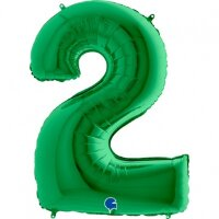 Шар (40''/102 см) Цифра, 2, Зеленый, 1 шт.