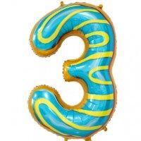 Шар (34''/86 см) Цифра, 3 Пончик, 1 шт. в упак.