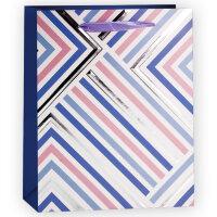 Пакет подарочный, Геометрия линий, Голубой, 23*18*10 см, 1 шт.